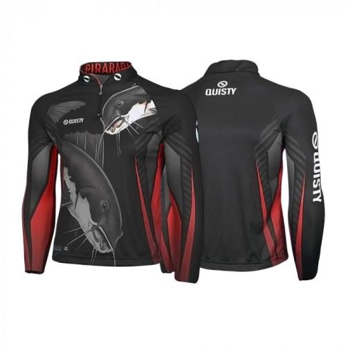 camisa de pesca preta Camisa Pro Elite Pirarara Bom de Briga