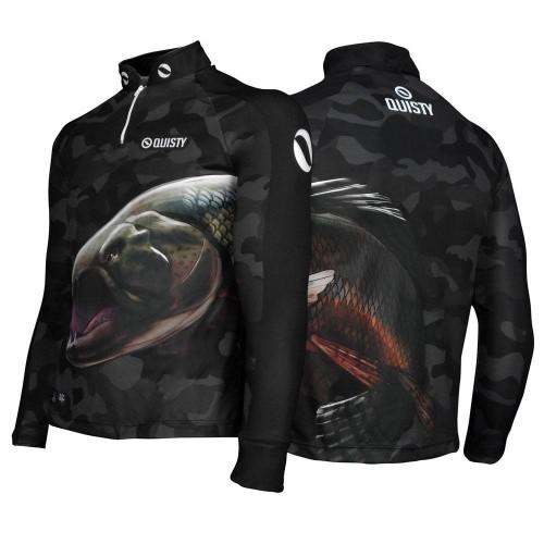 camisa de pesca preta Camisa Pro Elite Trairão
