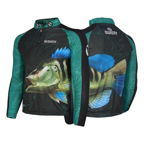 camisa de pesca preta Camisa Pro Elite Tucunaré Azul