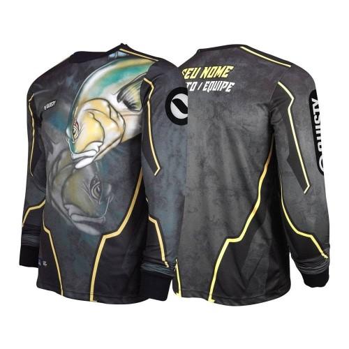 camisa de pesca preta Camisa Xaréu Surfista