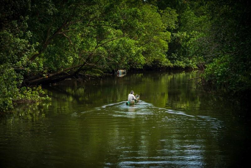 pesca no mangue posicionamento do barco