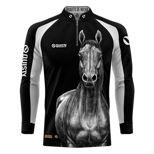 camisa cavalo Camisa Pro Elite Quarto de Milha Preto
